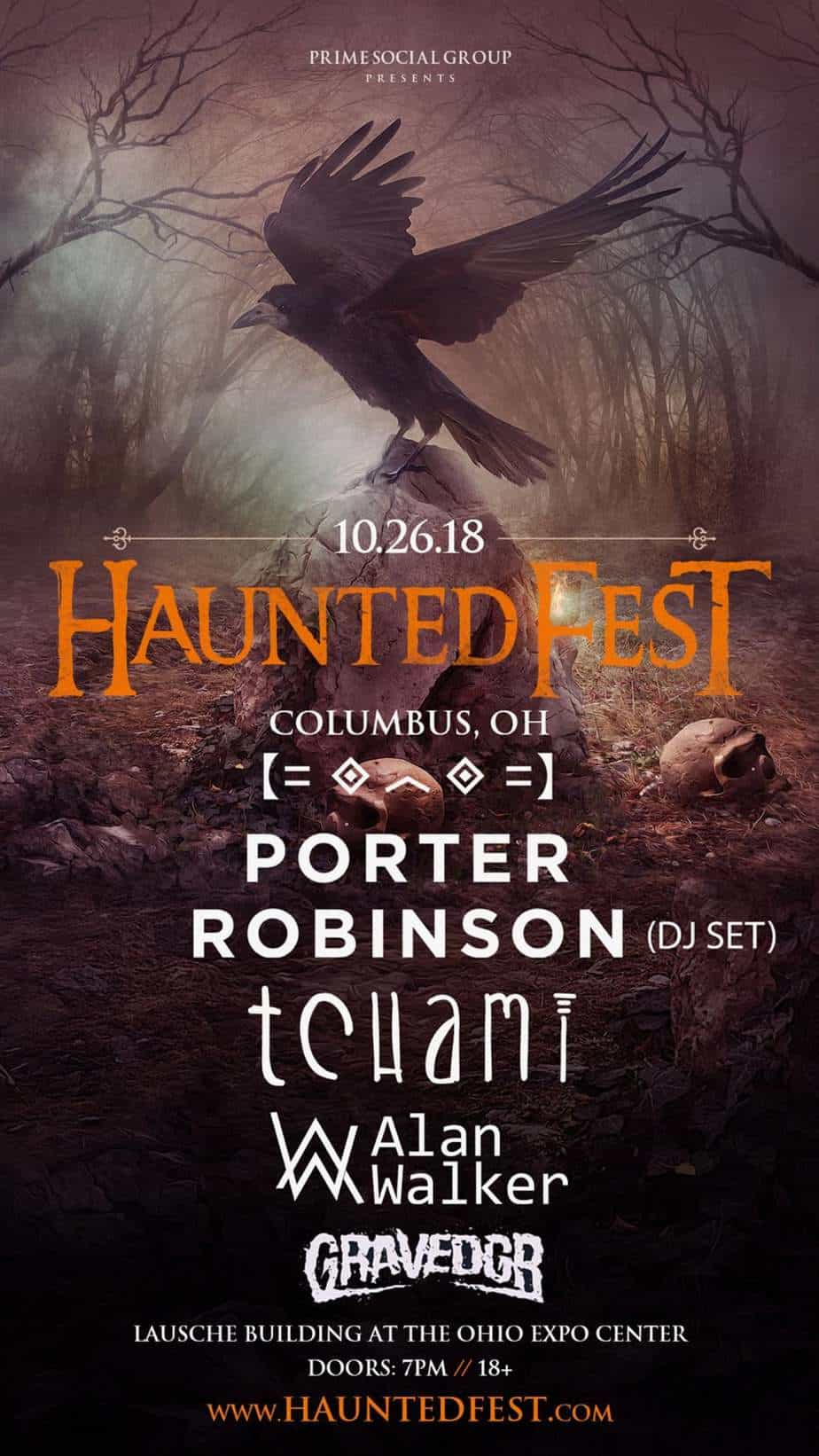 Photo of Porter Robinson, Tchami, and Alan Walker will headline Haunted Fest 2018