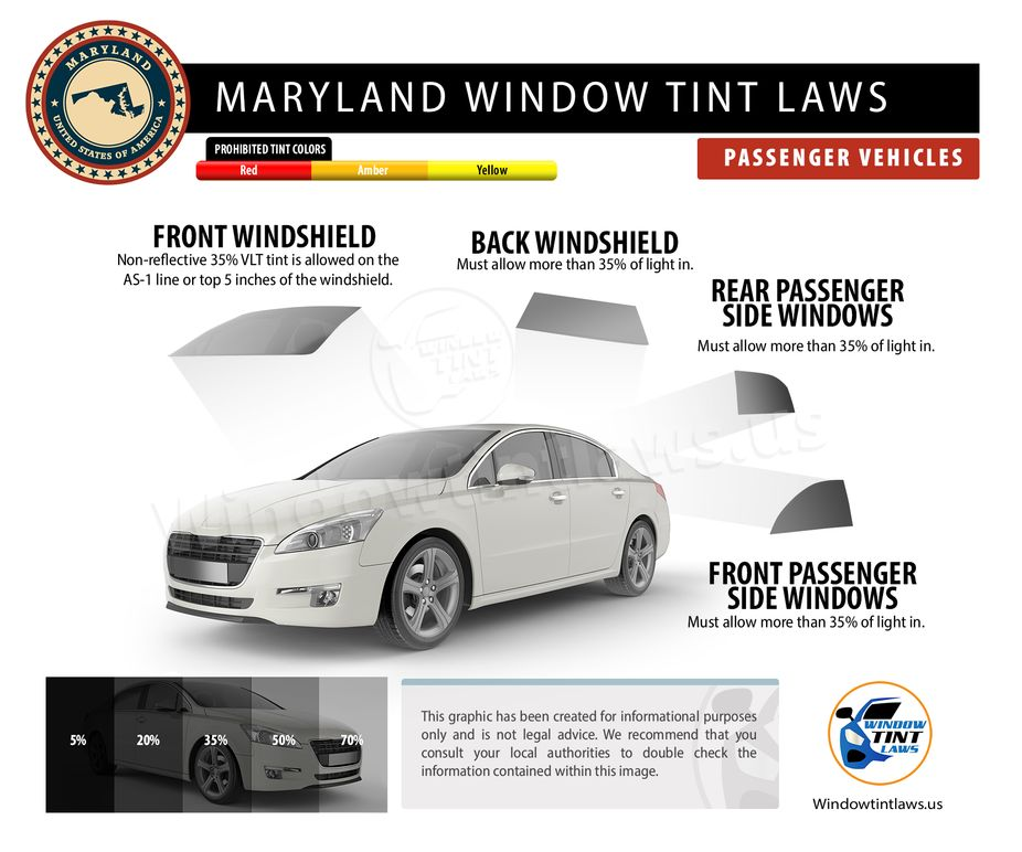maryland tint laws passenger
