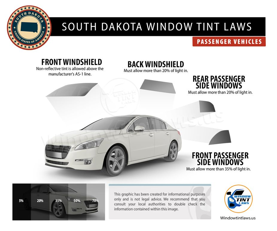 south dakota tint laws passenger