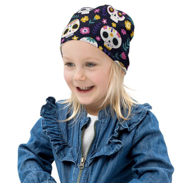 all over print kids beanie white left front 613a8231008fa