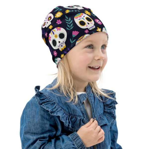 all over print kids beanie white right front 613a823100883
