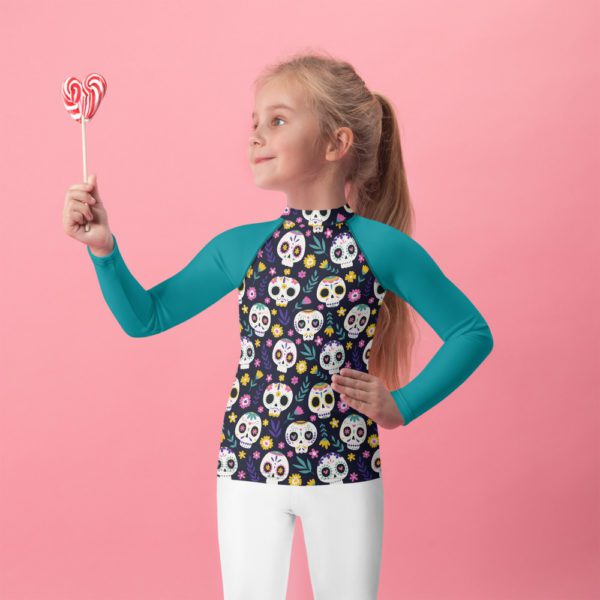 all over print kids rash guard white front 61393be939185