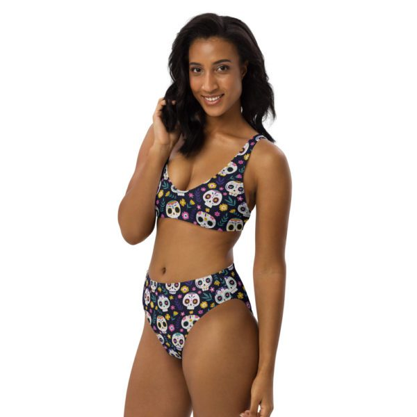 all over print recycled high waisted bikini white left front 613a84f373020