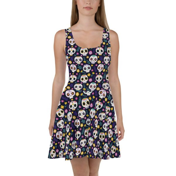 all over print skater dress white front 613a8dba17962