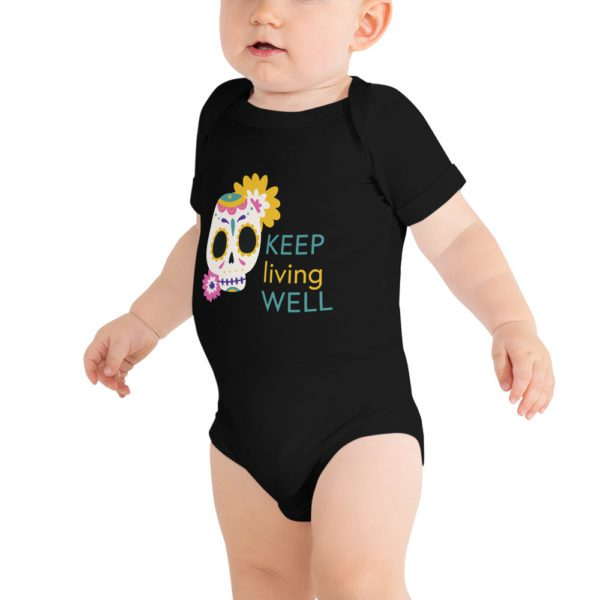 baby short sleeve one piece black front 613a8b06ce521
